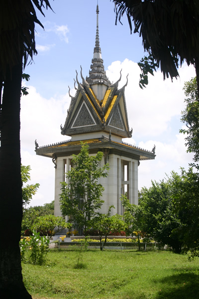 "Stupa at Chuong Ek, near Phnom Penh, site of one of Cambodia's ""killing fields."""