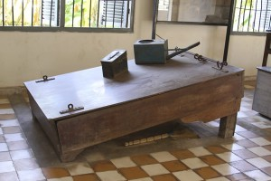 Equipment used for waterboarding at Tuol Sleng Prison.