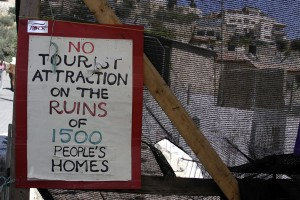 Post at a protest tent in Silwan.