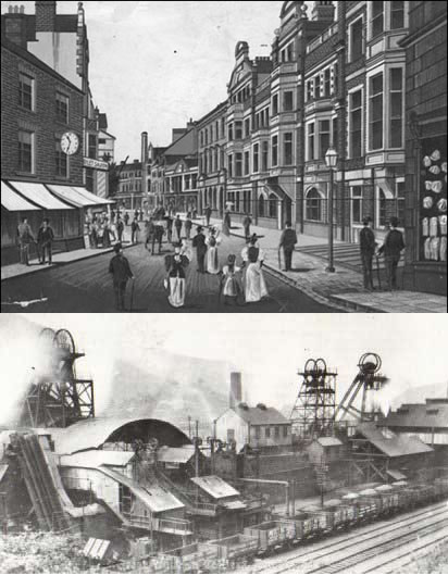 Two views of Pontypridd (Taff Street, and the Great Western Colliery in 1910.)