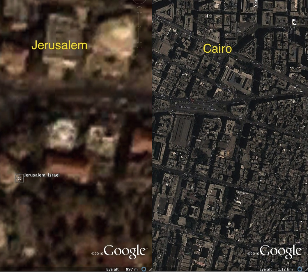 Jerusalem and Cairo, in 2010 images published on Google Earth. The images are at roughly the same scale.