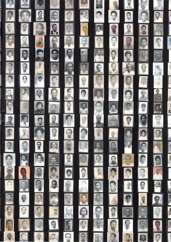 A display of family style photographs of ordinary Rwandans, eleven columns wide and 17 rows in height.