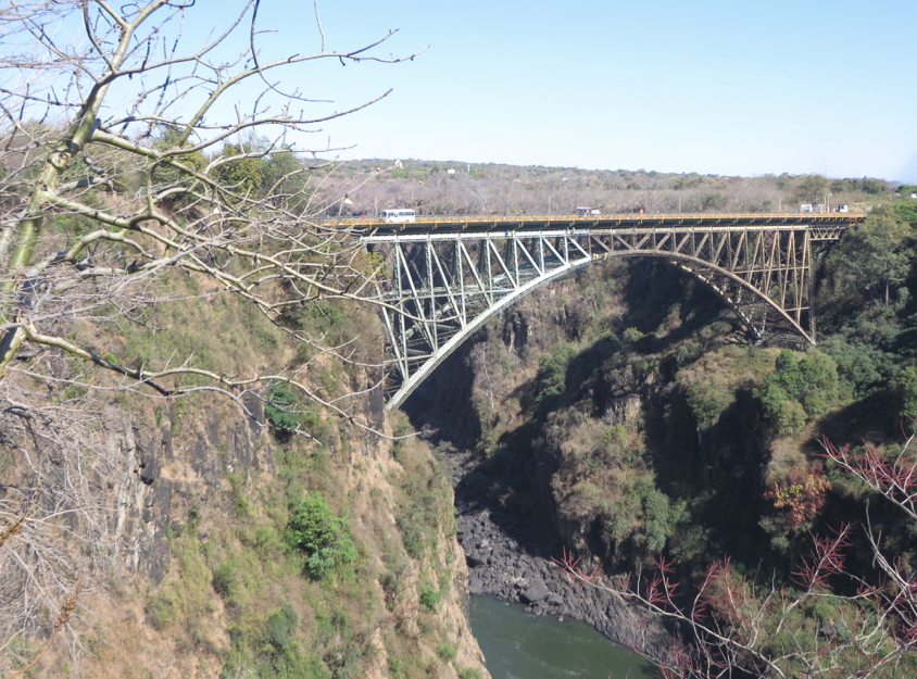 Victoria Falls bridge, linking Zambia (on the left) and Zimbabwe
